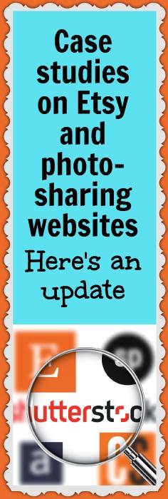 Case studies on Etsy insurance upgrades, Etsy profit-sharing, and photo-sharing websites, like Shutterstock and Alamy